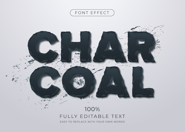 Eroded charcoal text effect. editable font style