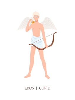 Eros or cupid - god or deity of love and passion in ancient greek and roman religion or mythology. cute boy with wings, arrows and bow isolated