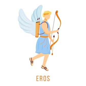 Эрос иллюстрация. бог любви и влечения. древнегреческое божество. божественная мифологическая фигура. мультипликационный персонаж на белом фоне