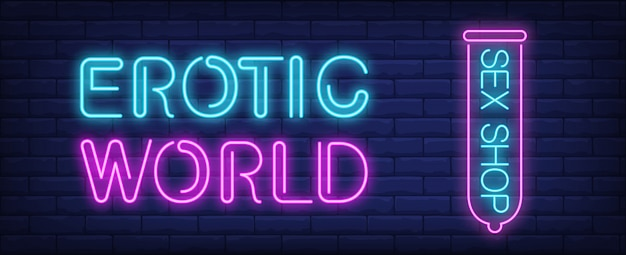 Erotic world of sex shop neon sign. pink condom on dark blue brick wall.