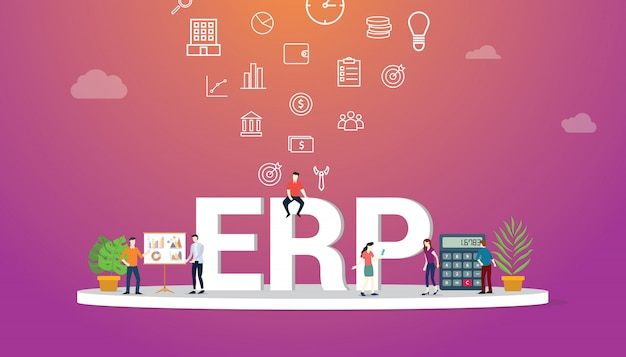 Erp business concept with team people