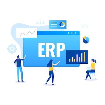 Erp 기업 자원 계획 일러스트레이션 개념, 생산성 및 회사 향상. 삽화
