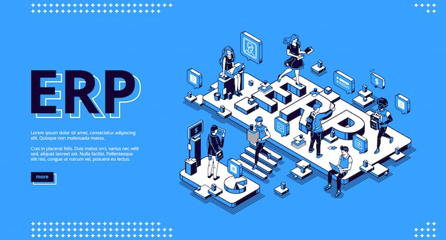 Erp enterprise resource planning isometric landing