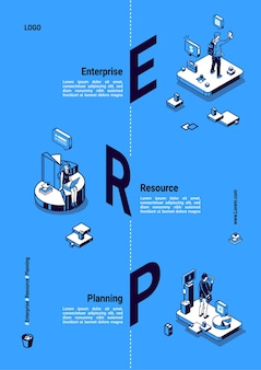 Erp、エンタープライズリソースプランニングアイソメトリックポスター。生産性と改善システム、データ分析ビジネス統合の概念、オフィスシーンで働くビジネスマン3dラインアートバナー