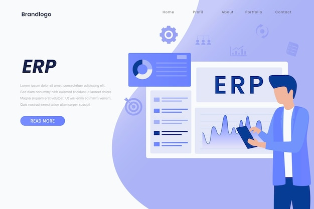 Erp enterprise resource planning landing page illustration