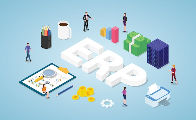 Erp enterprise resource planning with team people and asset company