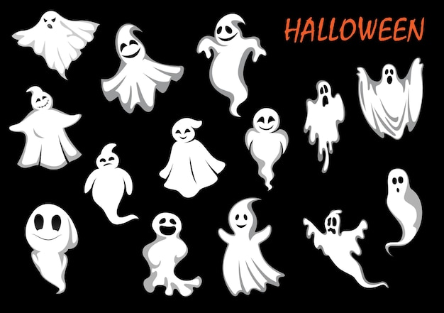 Errie and funny flying ghosts or ghouls for halloween part or holiday design