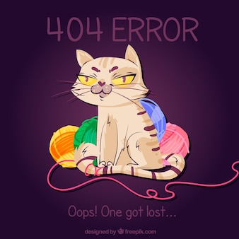 Error 404 background with cat and woolen bundles