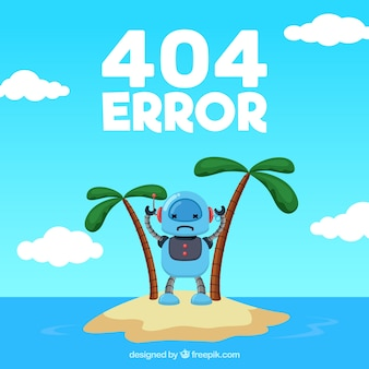 Error 404 background with robot on a desert island