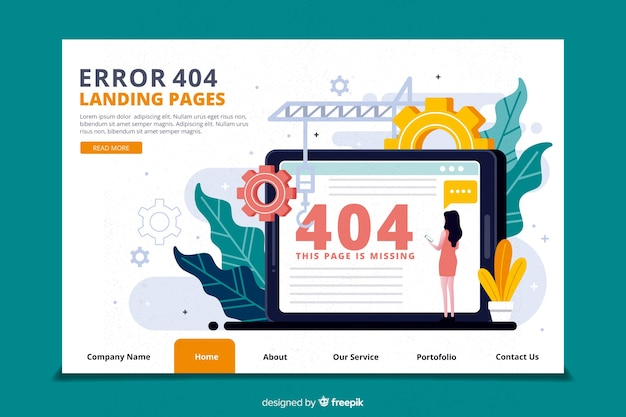 Error 404 concept for landing page