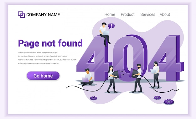 Error 404 concept. people trying to fix error on website page near big symbol 404