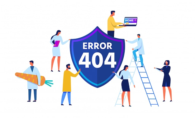 Error 404 emblem and cartoon people characters