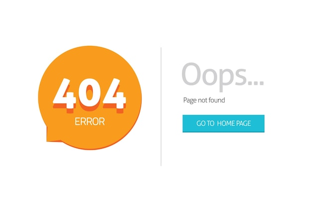 Error 404 internet web page not found for website with oops alert tmplate