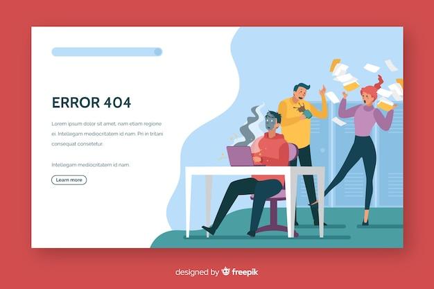 Error 404 landing page flat design
