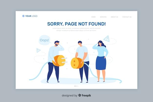 Error 404 landing page flat style