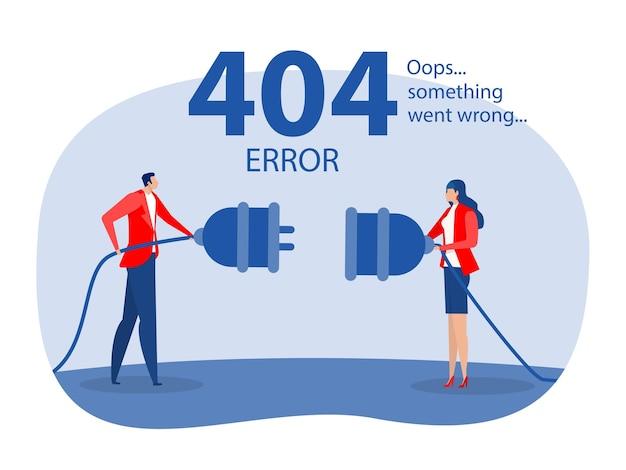 오류 404 연결되지 않은 케이블을 들고 있는 방문 페이지 사람들이 웹사이트를 찾을 수 없습니다.