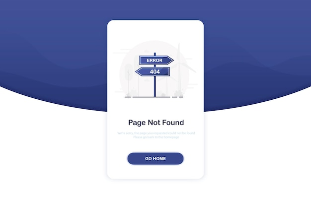 Error 404 landing page with road sign in flat design