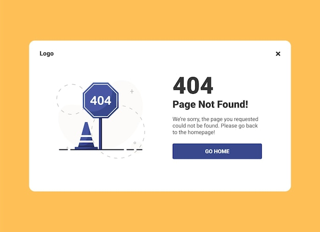 Error 404 landing page with a road signs in flat design