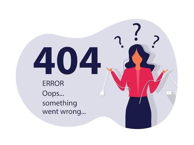 오류 404 연결되지 않은 케이블을 들고 있는 방문 페이지 여성 페이지를 찾을 수 없습니다.