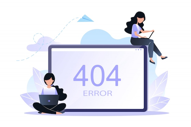 Error 404 page or file not found concept. vector illustration