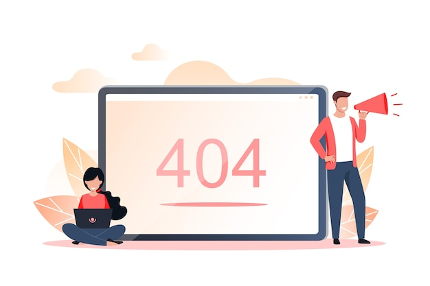 Error 404 page or file not found with people concept, illustration for web page.