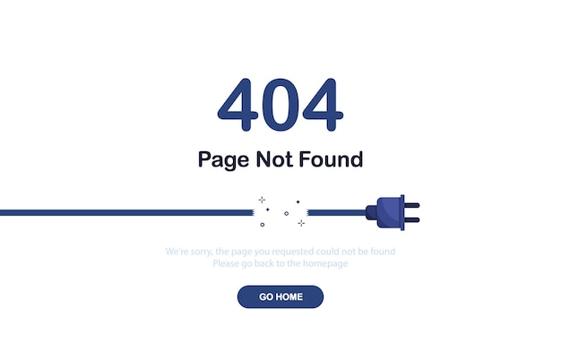 Error 404 page not found banner with broken cable for website template