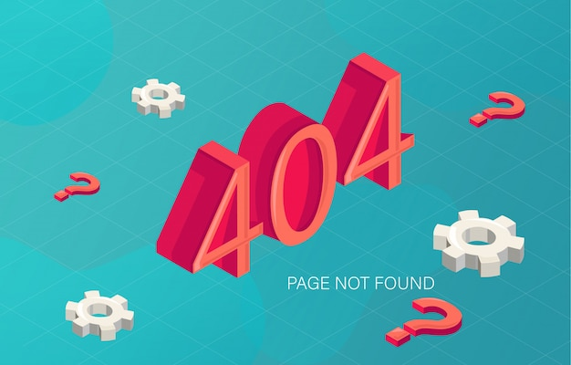 Error 404 page not found in fluid style with gears and red question marks