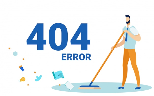 Error 404, page not found, man sweeping floor.