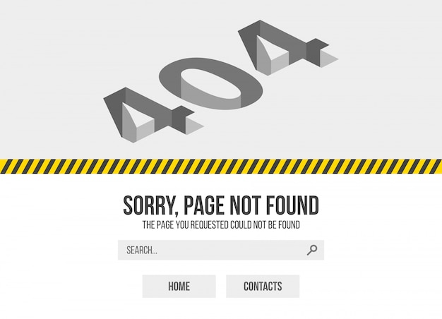 Error 404 page not found. oops trouble internet warning design.