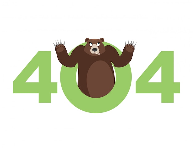 Error 404, page not found for website with bear