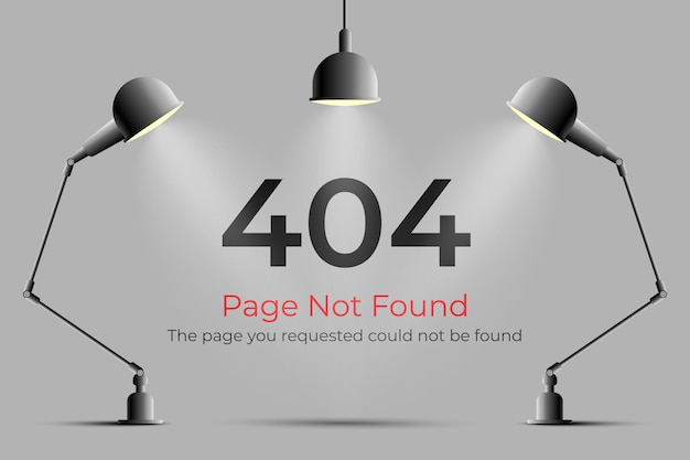 Error 404 page not found with realistic lamp and lights