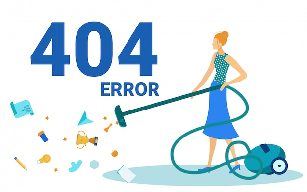 Error 404, page not found, woman vacuuming floor.