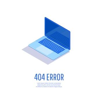 エラー404ページが見つかりません。ノートパソコンのディスプレイに404エラーがあるページ。