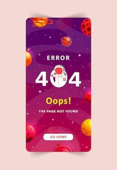 Ошибка 404 - страница не найдена. космические исследования современного фона. мобильный шаблон