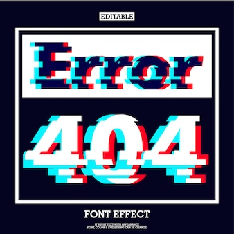 Error 404 page sign with modern glitch effect