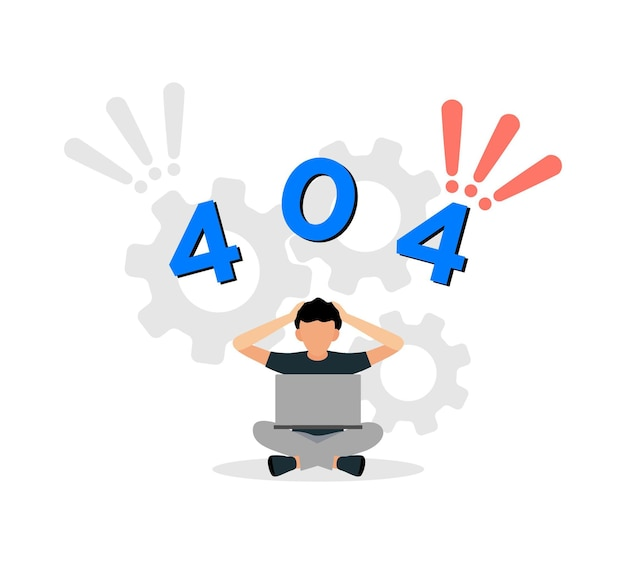 Error 404 page website in flat design