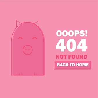 Error 404 with cute cartoon pig. page not found template for web site. page lost and found message - problem disconnect