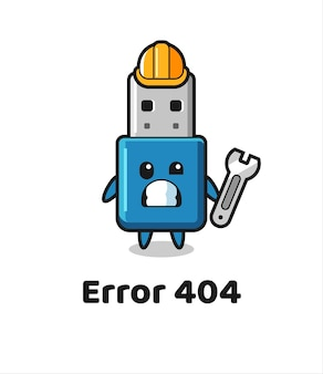 Error 404 with the cute flash drive usb mascot , cute style design for t shirt, sticker, logo element