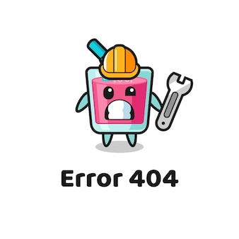 Error 404 with the cute strawberry juice mascot , cute style design for t shirt, sticker, logo element
