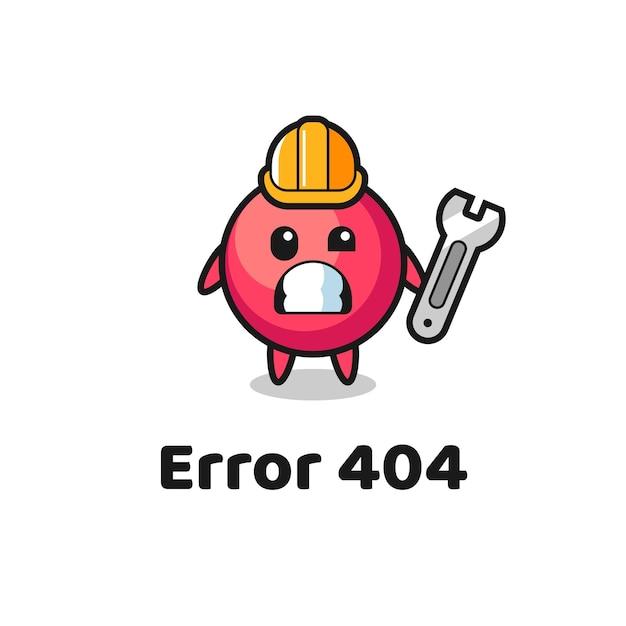 귀여운 크랜베리 마스코트가 있는 오류 404, 티셔츠, 스티커, 로고 요소를 위한 귀여운 스타일 디자인