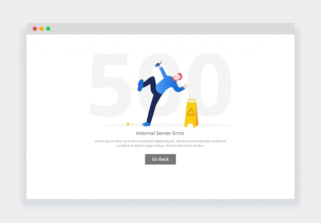 Error 500. modern flat design concept of man falling next to wet floor sign for website. empty states page template