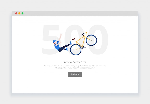 Error 500. modern flat design concept of man falls from the bicycle for website. empty states page template