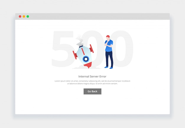 エラー500。ウェブサイトの落下ロケットを見て混乱している人のモダンなフラットデザインコンセプト。空の状態ページテンプレート