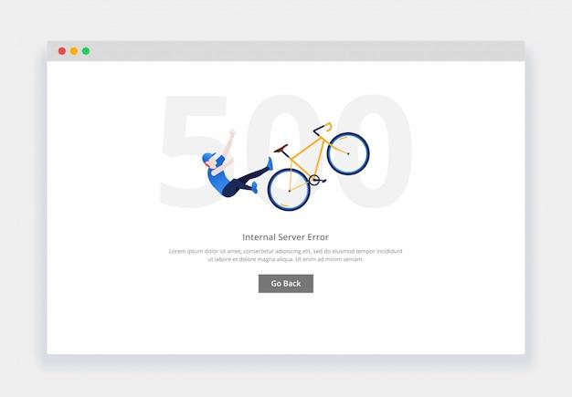 エラー500。人間のモダンなフラットデザインコンセプトは、ウェブサイトの自転車から落ちます。空の状態ページテンプレート