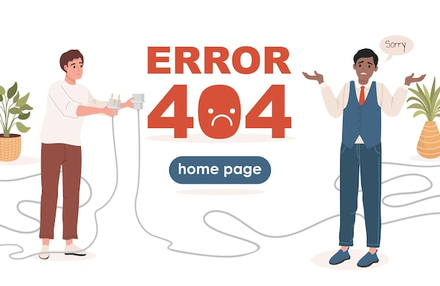 Error landing page vector flat template with text space man