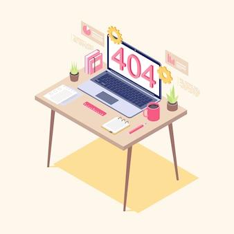 Error on laptop display isometric illustration. it specialist, analyst workplace. preparing network failure statistics. server not found, broken link, web search malfunction notification
