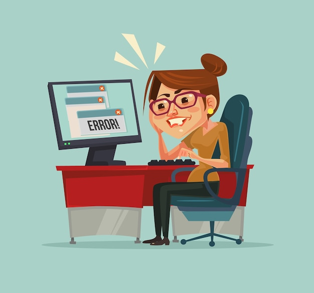 컴퓨터의 오류 메시지. 좌절 된 사무실 작업자 여자 캐릭터입니다.