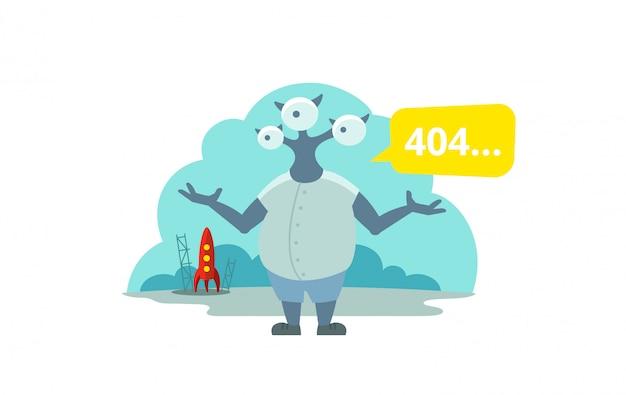 Error page 404 not found. three-eyed alien arrived on rocket Premium Vector