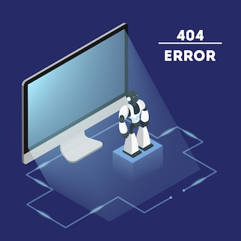 Error page not found concept.   illustration of internet connection problem. fising broken website. flat isometric vector illustration