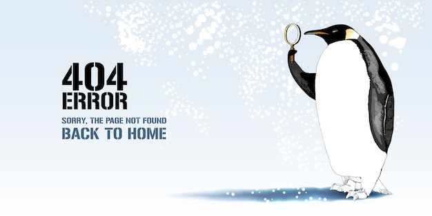 Error page  illustration, banner with not found message. cartoon penguin with lenses background for error  concept web page  element